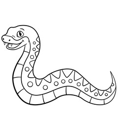 Coloring pages. Little cute viper smiles.