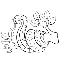 Coloring pages. Little cute viper on the tree.