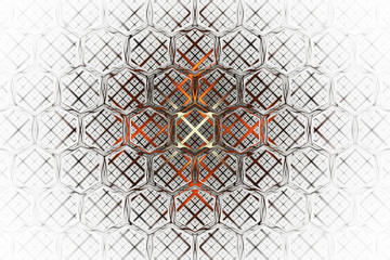 Abstract intricate geometric fractal ornament with crossing orange lines. Psychedelic digital art. 3D rendering.