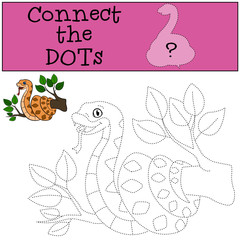 Educational game: Connect the dots. Cute viper.