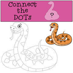 Educational game: Connect the dots. Little cute smiling viper.