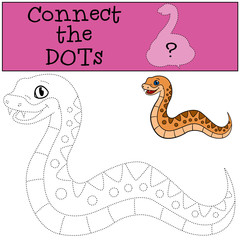 Educational game: Connect the dots. Little cute baby viper.