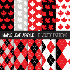 Canadian Vector Patterns in Maple Leaf and Argyle Print. Canada Day July 1st Party Celebration Backgrounds. Red, Gray, Black & White. Repeating Pattern Tile Swatches Included.