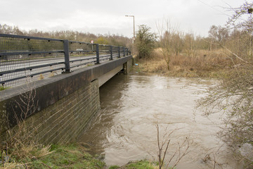 River Dearne In Flood On April 3rd 2018 Wath Upon Dearne, Rotherham, South Yorkshire, England