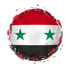 Round grunge flag of Syria with splashes in flag color.