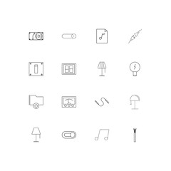 Electrical simple linear icons set. Outlined vector icons