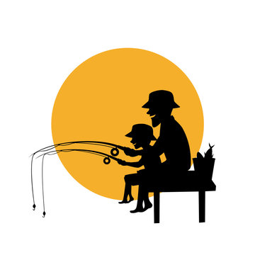 father and son fishing together isolated vector illustration silhouette scene