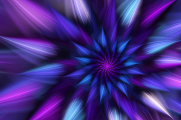 Abstract exotic flower with blue and violet petals. Fantasy fractal design. Psychedelic digital art. 3D rendering.