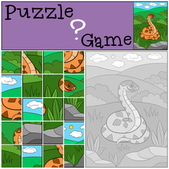 Education game: Puzzle. Cute viper smiles.
