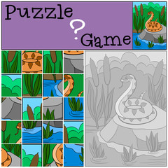 Education game: Puzzle. Little cute viper on the stone.
