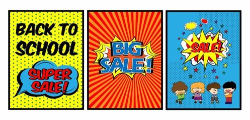 Colorful Pop art comic sale discount promotion back to school with four children feeling happy, Big sale template with speech bubble, clouds beams and halftone background. Vector illustration