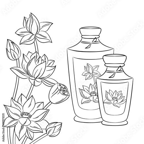 Vector contour spa set bottles lotus flowers coloring book stock vector contour spa set bottles lotus flowers coloring book mightylinksfo