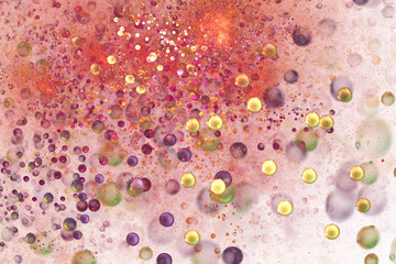 Abstract chaotic orange, pink and golden particles. Digital fractal art. 3D rendering.