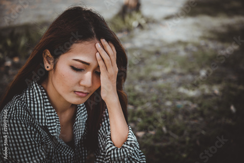 Close Up Asian Sad Woman Heartbreak From Unrequited LoveBrokenheart Young Girl Concept