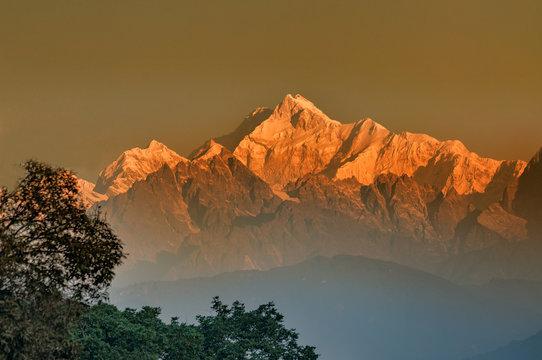 First light on Mount Kanchenjugha, Himalayan mountain range