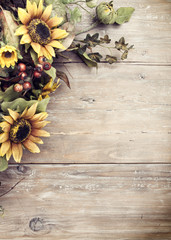 Autumn Wreath on Distressed Background