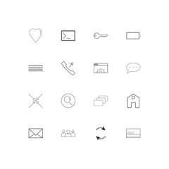 Interface simple linear icons set. Outlined vector icons