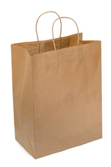 Brown paper bag from kraft paper. Open package. Shopping bag isolated on white background