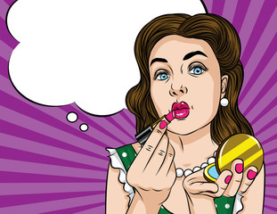 Vector retro illustration pop art comic style of a pretty woman doing makeup. Glamorous lady applying lipstick and looking at the mirror
