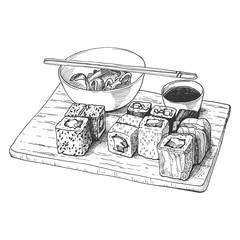 Hand drawn hatching sushi set on wooden board, isolated on white background. Vintage etching monochrome food design.