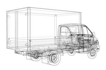 Concept small truch. 3d illustration