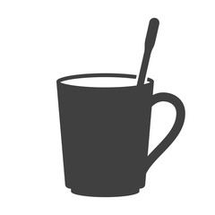 Icon of a mug with a teaspoon inside. Vector on white background