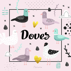 Baby Shower Design with Cute Doves. Creative Hand Drawn Childish Bird Pigeon Background for Decoration, Invitation, Cover. Vector illustration