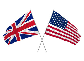 UK and USA combined flags waving