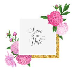 Floral Wedding Invitation Template. Save the Date Card with Blooming Pink Peony Flowers and Golden Frame. Romantic Botanical Design for Ceremony Decoration. Vector illustration