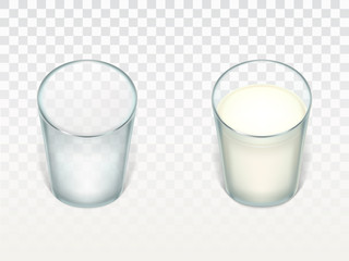 Vector set with two realistic transparent glasses, clean and empty, filled with milk, cream or yogurt isolated on translucent background. Glassware for drinks, mockup for advertising your product