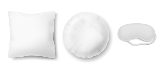 Vector realistic set with blindfold and two clean white pillows, square and round, isolated on background. Objects for sweet dreams in bedroom, mockup with blank cushions and mask for sleeping