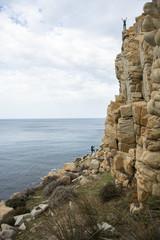 Rock climbing in Capo Pecora, Sardinia, Italy