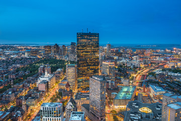 Aerial view of Boston taken at the blue hour, Massachusetts, USA