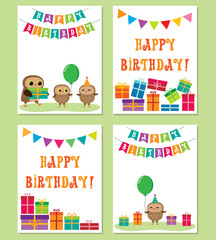 Birthday anniversary card with cute owls