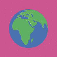 bright blue and green planet glowing continents Eurasia africa light illumination earth in bright pink space print fashion fun children cute toys