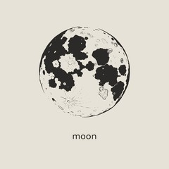 Moon. Hand drawing. Vector illustration for design and decoration of covers and other surfaces