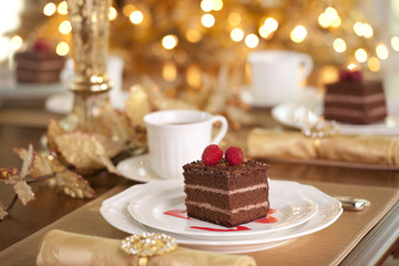 Christmas holiday chocolate raspberry cake dessert