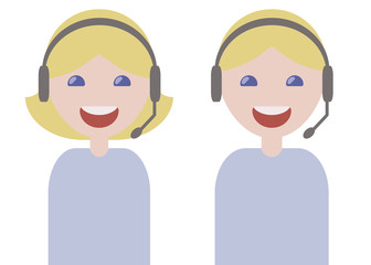 girl and guy operators phone headphones microphone smiling blondes in blue light t-shirts customer service issues isolated over white background
