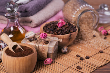 Natural handmade soap, aromatic cosmetic oil, sea salt with coffee beans