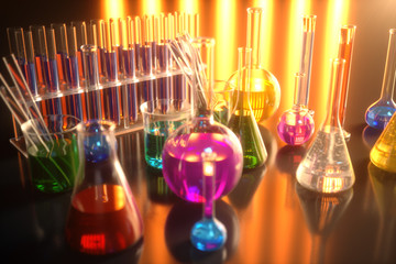 3d illustration of a chemical reaction, the concept of a scientific laboratory on a blue background. Flasks filled with colored liquids with different compositions