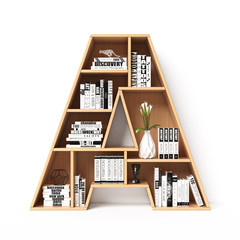 Bookshelves 3d font. Alphabet in the form of book shelves. Mockup font.  Letter A 3d rendering