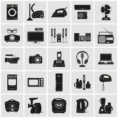 Household appliances and electronics detailed icons