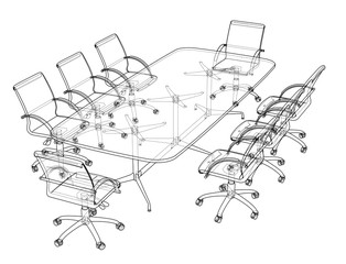 Conference table with chairs in sketch style