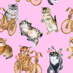 Seamless pattern with playful cats. Watercolor hand drawn illustration