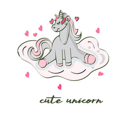 Cute unicorn greeting card. Magical unicorn vector poster.