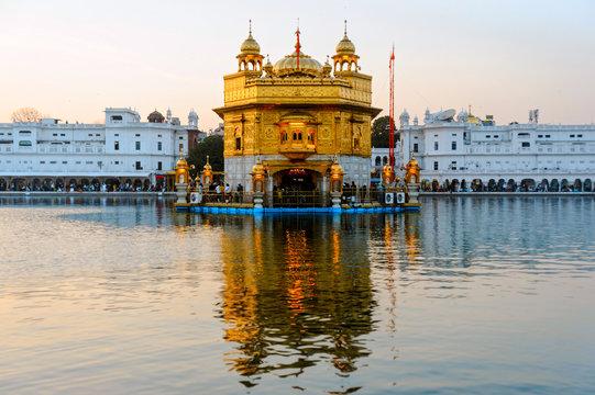 Golden Temple Harmandir Sahib at sunrise. Amritsar