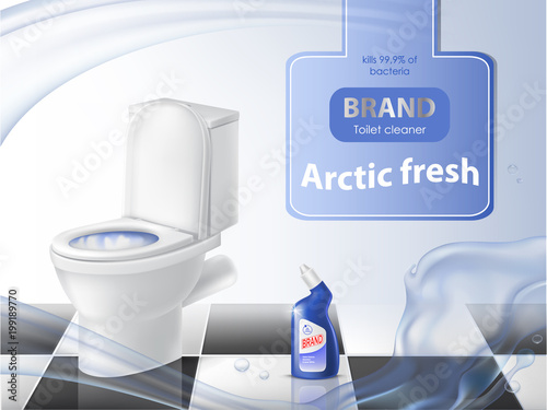 Vector Poster Of Detergent Cleaning Concept Mock Up Of D - Bathroom detergent