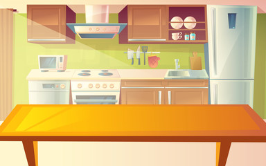 Vector cartoon illustration of cozy modern kitchen with dinner table and household appliances, fridge, stove, microwave, exhaust hood. Comfortable, clean dining-room, with tableware, interior inside