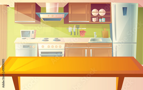 """Vector Cartoon Illustration Of Cozy Modern Kitchen With"
