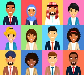 Set of business icons. Businessmen of different nationalities. Asian, Latin American, African, European, Indian, Arab. Young businessman. In flat style. Cartoon.